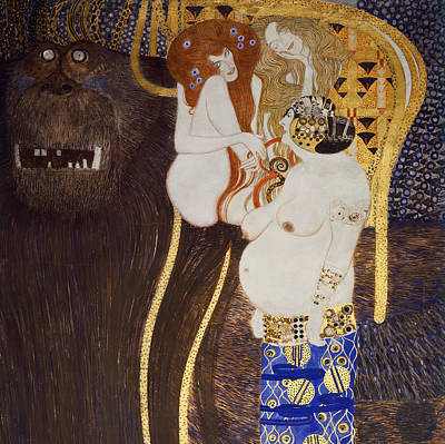 Pregnant Woman Painting - The Beethoven Frieze by Gustav Klimt
