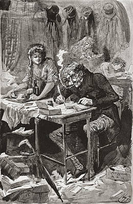 Great Expectations Drawing - The Begging Letter Writer. Illustration by Vintage Design Pics