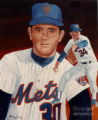 Nolan Ryan Painting - From The Mets To The Rangers by Rosario Piazza