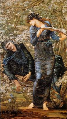 The Beguiling Of Merlin Painting - The Beguiling Of Merlin by dward Burne