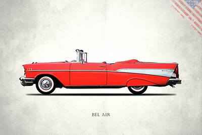 Retro Car Photograph - The Bel Air 1957 by Mark Rogan