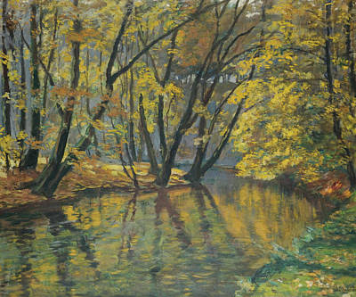 Bela Painting - The Bela Stream In Autumn by Antonin Hudecek