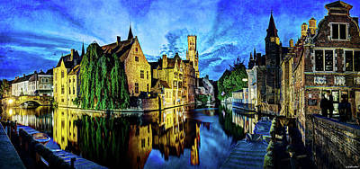Photograph - The Belfort Of Bruges At Dusk - Vintage Version by Weston Westmoreland
