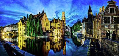 Photograph - The Belfort Of Bruges At Dusk - Vintage Version by Weston Westmoreland