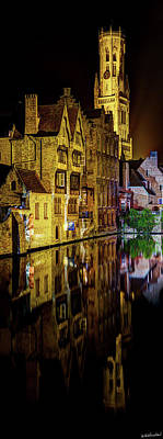 Photograph - The Belfort Of Bruges At Night by Weston Westmoreland