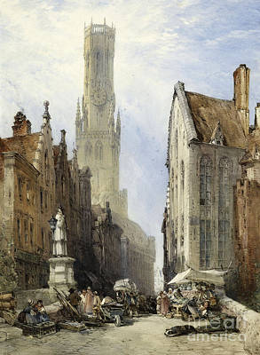 Belfry Painting - The Belfry And Old Cloth Hall by Celestial Images