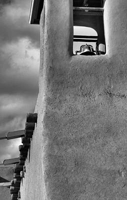 Photograph - The Bell Tower At San Francisco De Asis Mission Church In Black And White by Nadalyn Larsen