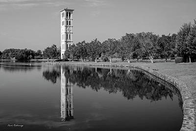 Photograph - The Bell Tower Reflections B W Furman University Greenville South Carolina Art by Reid Callaway