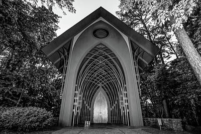 Photograph - The Bella Vista Arkansas Mildred B. Cooper Memorial Chapel - Black And White by Gregory Ballos