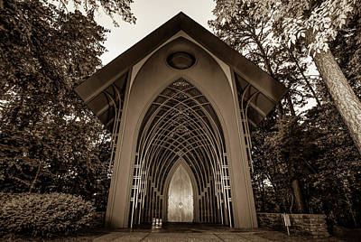 Photograph - The Bella Vista Arkansas Mildred B. Cooper Memorial Chapel - Sepia Edition by Gregory Ballos