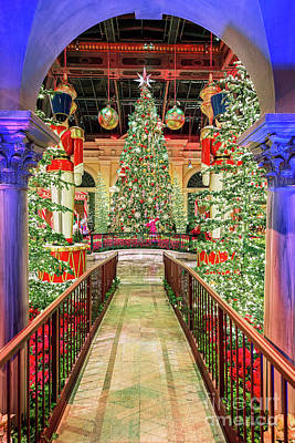 Photograph - The Bellagio Christmas Tree Under The Arch 2016 by Aloha Art