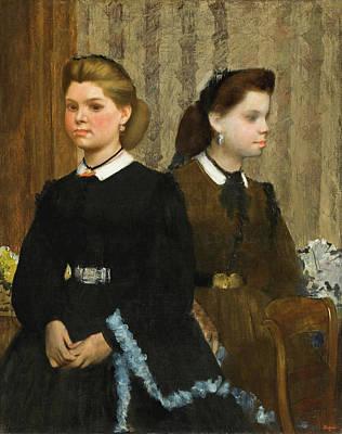 Siblings Painting - The Bellelli Sisters, Giovanna And Giuliana Bellelli by Edgar Degas