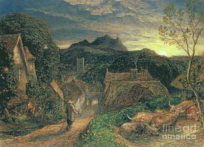 Village Scene Painting - The Bellman by Samuel Palmer