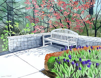 Nature Center Painting - The Bench Awaits - Mill Creek Park by Laurie Anderson