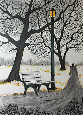 Drawing - The Bench by Jack G  Brauer