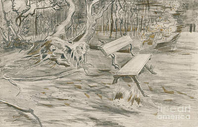 Landscape Drawing - The Bench by Vincent Van Gogh