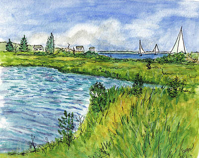 Painting - The Berkeley Island Pond by Clara Sue Beym