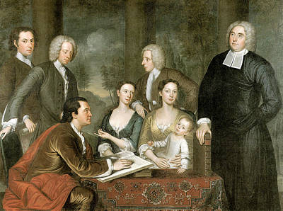 Table Cloth Painting - The Bermuda Group Dean George Berkeley And His Family by John Smibert