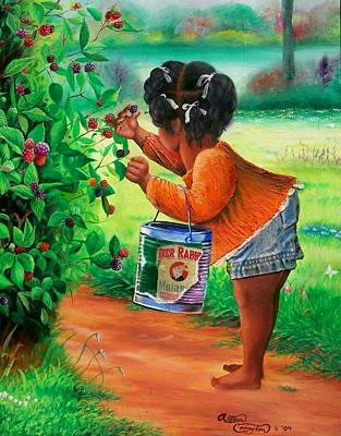 African American. Folk Art Painting - The Berry Girl by Arthur Covington