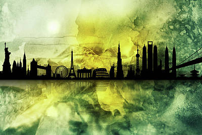 Digital Art - The Best City Skyline 1 by Lilia D