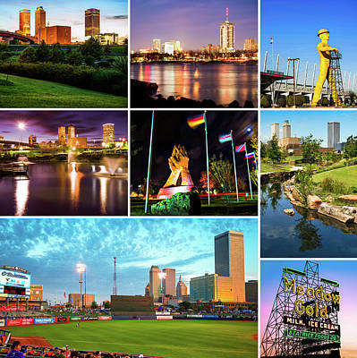 The Best Of Tulsa Oklahoma - City Collage Art Print by Gregory Ballos