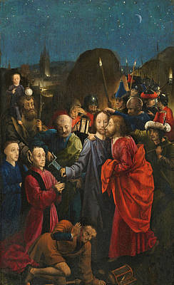 Saint Christopher Painting - The Betrayal And Arrest Of Christ by The Master of the Dreux-Bude Triptych