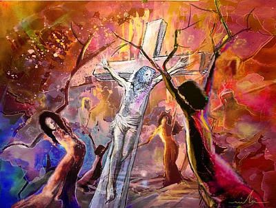 The Bible Crucifixion Print by Miki De Goodaboom