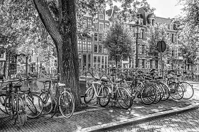 Photograph - The Bicycles Of Amsterdam In Black And White by Debra and Dave Vanderlaan