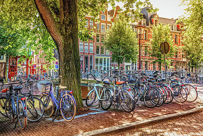 Photograph - The Bicycles Of Amsterdam In Hdr Detail by Debra and Dave Vanderlaan