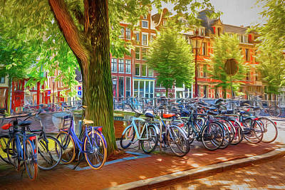 Photograph - The Bicycles Of Amsterdam Watercolor Painting by Debra and Dave Vanderlaan