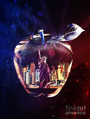 Digital Art - The Big Apple by Maria Urso