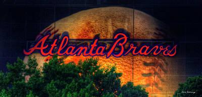 Baseball Royalty-Free and Rights-Managed Images - The Big Ball Atlanta Braves Baseball Signage Art by Reid Callaway