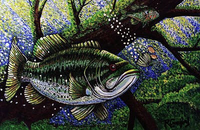 Fish Underwater Painting - The Big Bass by Bob Crawford