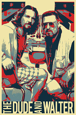 Digital Art - The Big Lebowski Revisited - The Dude And Walter by Serge Averbukh