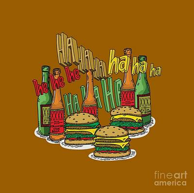 The Big Lebowski  Some Burgers Some Beers And A Few Laughs  In And Out Burger Jeff Lebowski Art Print by Paul Telling