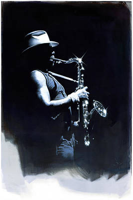 Clarence Clemons Painting - The Big Man by David Farren