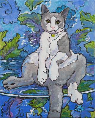 Funny Cat Painting - The Big Meowski by Tracie Thompson