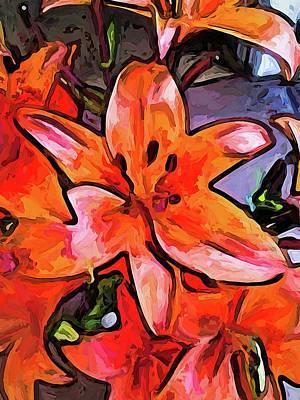 Digital Art - The Big Orange Lily Flower by Jackie VanO