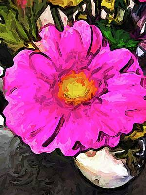 The Big Pink And Yellow Flower In The Little Vase Art Print