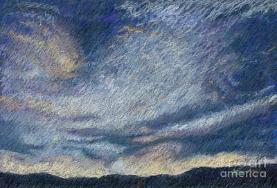 Desert Sunset Drawing - The Big Storm by Suzie Majikol Maier