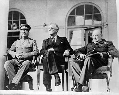 Photograph - The Big Three - Ww2 - Tehran Conference 1943 by War Is Hell Store