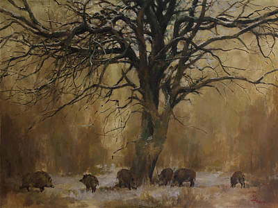 Painting - The Big Tree With Wild Boars by Attila Meszlenyi