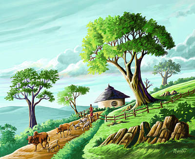 Windy Hill Painting - The Big Trees Of Josiah by Anthony Mwangi
