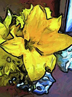 Digital Art - The Big Yellow Flower Above The Blue Flowers by Jackie VanO