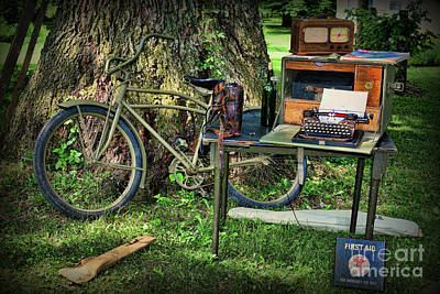 Typewriter Photograph - The Bike Messenger by Paul Ward