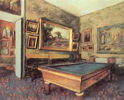 The Billiard Room At Menil-hubert Art Print by Edgar Degas