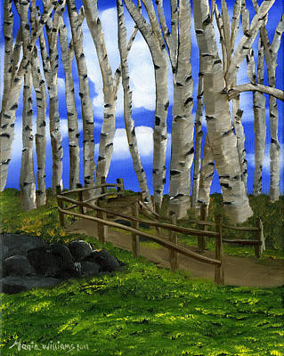 Painting - The Birch Tree Road by Maria Williams
