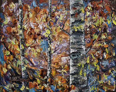 Painting - The Birch Trees - 2  Oil Painting With Palette Knife by OLena Art Brand