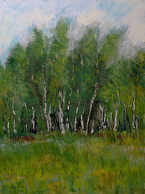 Original featuring the pastel The Birch Trees On Maple Ridge by David Patterson