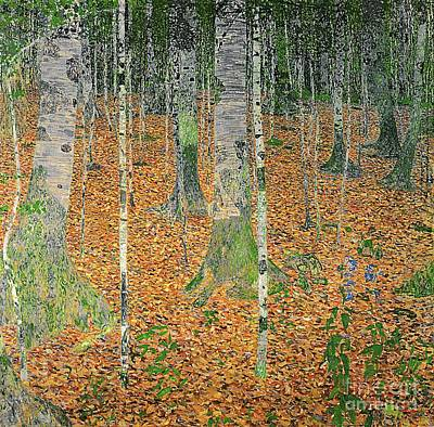 Autumn Leaf Painting - The Birch Wood by Gustav Klimt